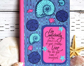 Blue and Pink Seashells Journal with Inspirational Words - Medium Sized Notebook - Altered Composition Book - Travel Diary with Lined Pages