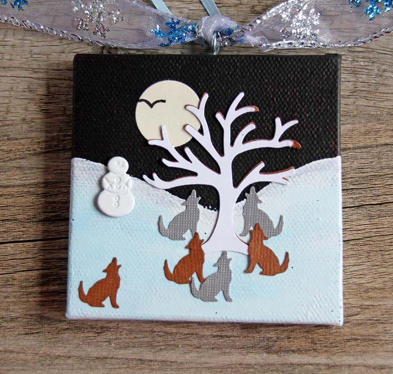 Wolves Mini Canvas Handmade Christmas Ornament Snowy image 0