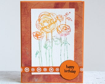 Watercolor Flowers Greeting Card, Handmade Notecard With A Variety Of Sentiments, Stamped Watercolor Image, Birthday Card, Thank You Card