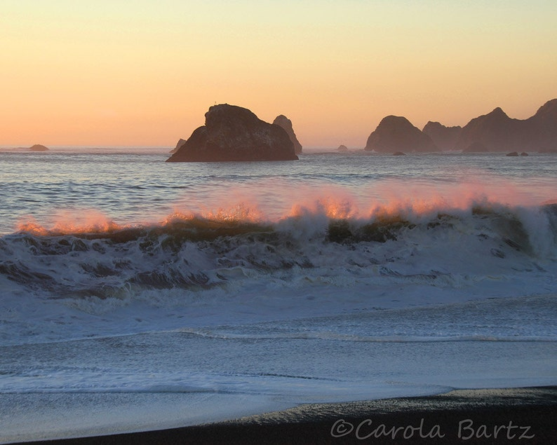 Pink Waves Photo  Pacific Ocean at Sunset  Fine Art image 0