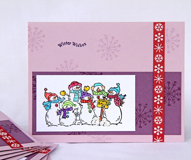 Playful Snowmen on Lavender Christmas Cards  Boxed Set of 8 image 0
