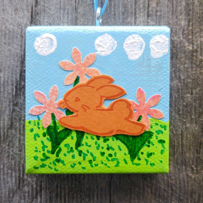 Hopping Bunny in Flowers Ornament Tiny Painted Ornament Mini image 0
