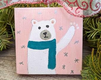 Polar Bear Holiday Ornament on Mini Canvas, Handmade Christmas Ornament, Polar Bear Acrylic Painting, Hand Painted Ornament, Mini Painting