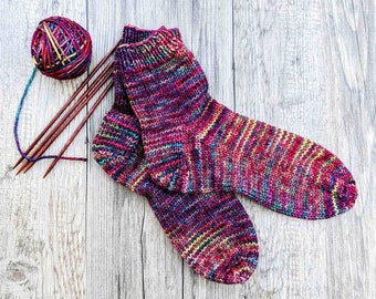Hand Knitted Socks for Women with Seamless Toes, Warm House Socks, Chemo Socks, Bed Socks, Your Color Your Size, Made to Order, 15 Colors