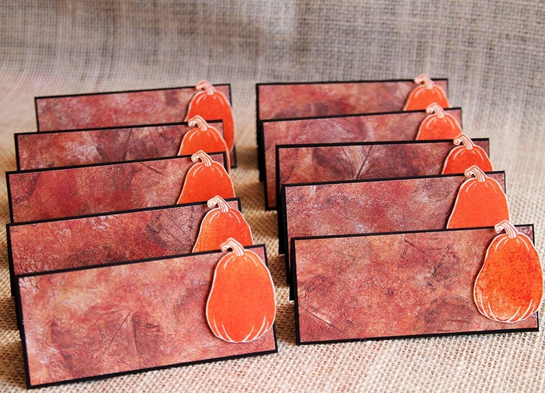 Autumn Pumpkin Place Cards for Thanksgiving and Fall Dinner image 0