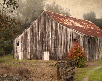Wine Country Barn Photograph - Fine Art Photography of Weathered Barn with an Old World Look -  8 x 10 Photo Print - Cabin or Cottage Decor