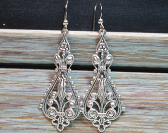 Silver Filigree Chandelier Pendant Earrings