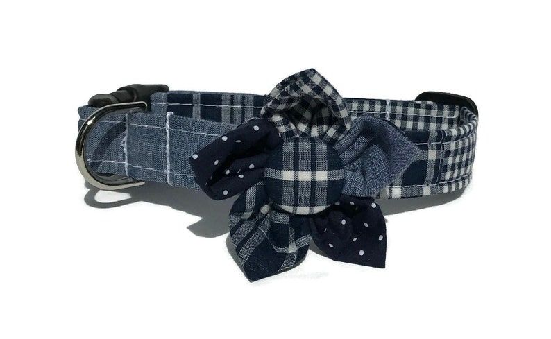 The Dockside Patchwork Madras Plaid Dog Collar and Flower Set image 0
