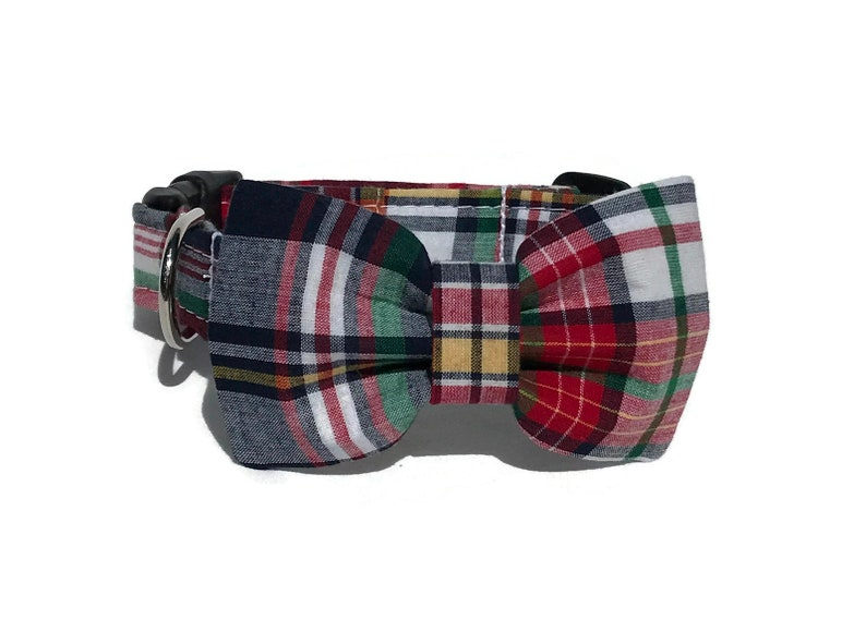 Collar and Bow Tie Set in  Summer Madras Patchwork Plaid image 0