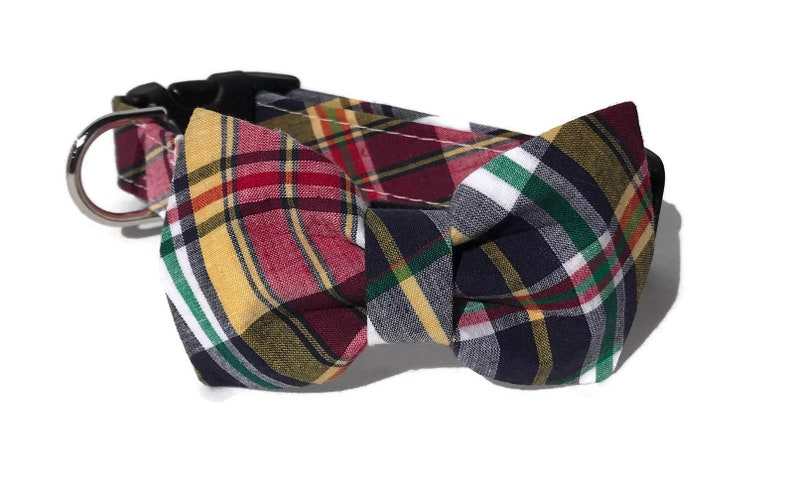Summer Camp 2019 Dog Collar and Bow Tie Set in Madras  Plaid image 0