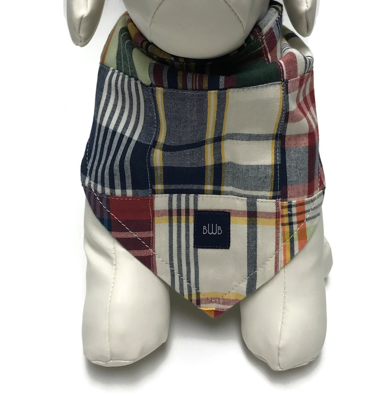 The Frat Boy Madras Patchwork Plaid Bandana for Dogs Small to image 0