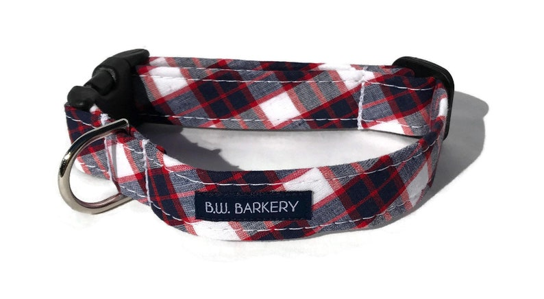 The Bosun Dog Collar in Madras Plaid image 0