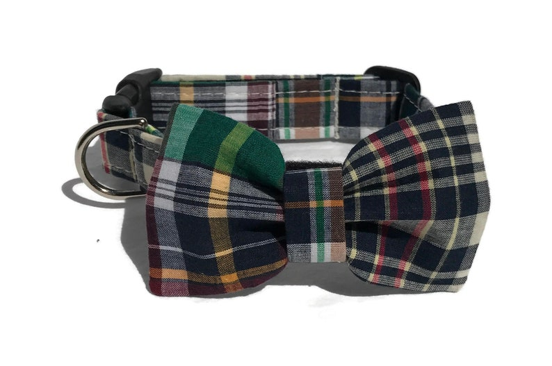 The Varsity Club Dog Collar and Bow Tie Set in Madras image 0