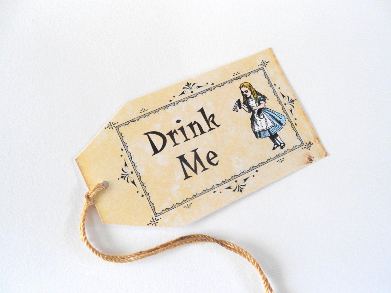 Alice in Wonderland Drink Me Gift Tags Vintage Antique Style Tea ...