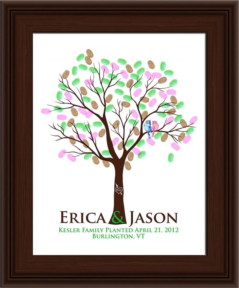 Wedding Tree Tree guest book FINGERPRINT GUEST TREE 104 guest book tree wedding Love Birds Thumbprint Stamp Tree Stamp 20x30 num