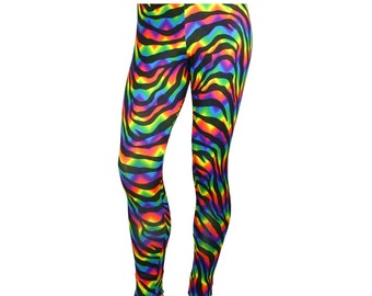 80's Heavy Hair Metal Glam Rock Neon Zebra Stretch Pants Costume