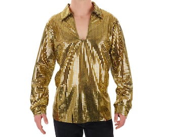 Men s 70 s Disco Shiny GOLD Sequin Shirt 82ff3bd5e024e