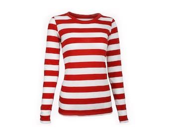 Women's Long Sleeve Red & White Striped Shirt