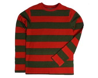 b6ebf0ba52f365 Child s Long Sleeve Nightmare Olive   Red Striped Shirt