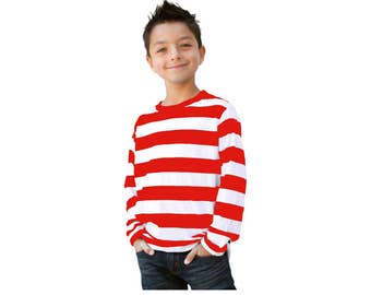 Childu0027s Long Sleeve Red u0026 White Striped Shirt Boys  sc 1 st  Etsy : childrens wheres wally costume  - Germanpascual.Com