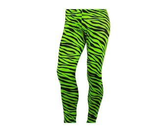 80's Heavy Hair Metal Glam Rock NEON Green Zebra Stretch Pants