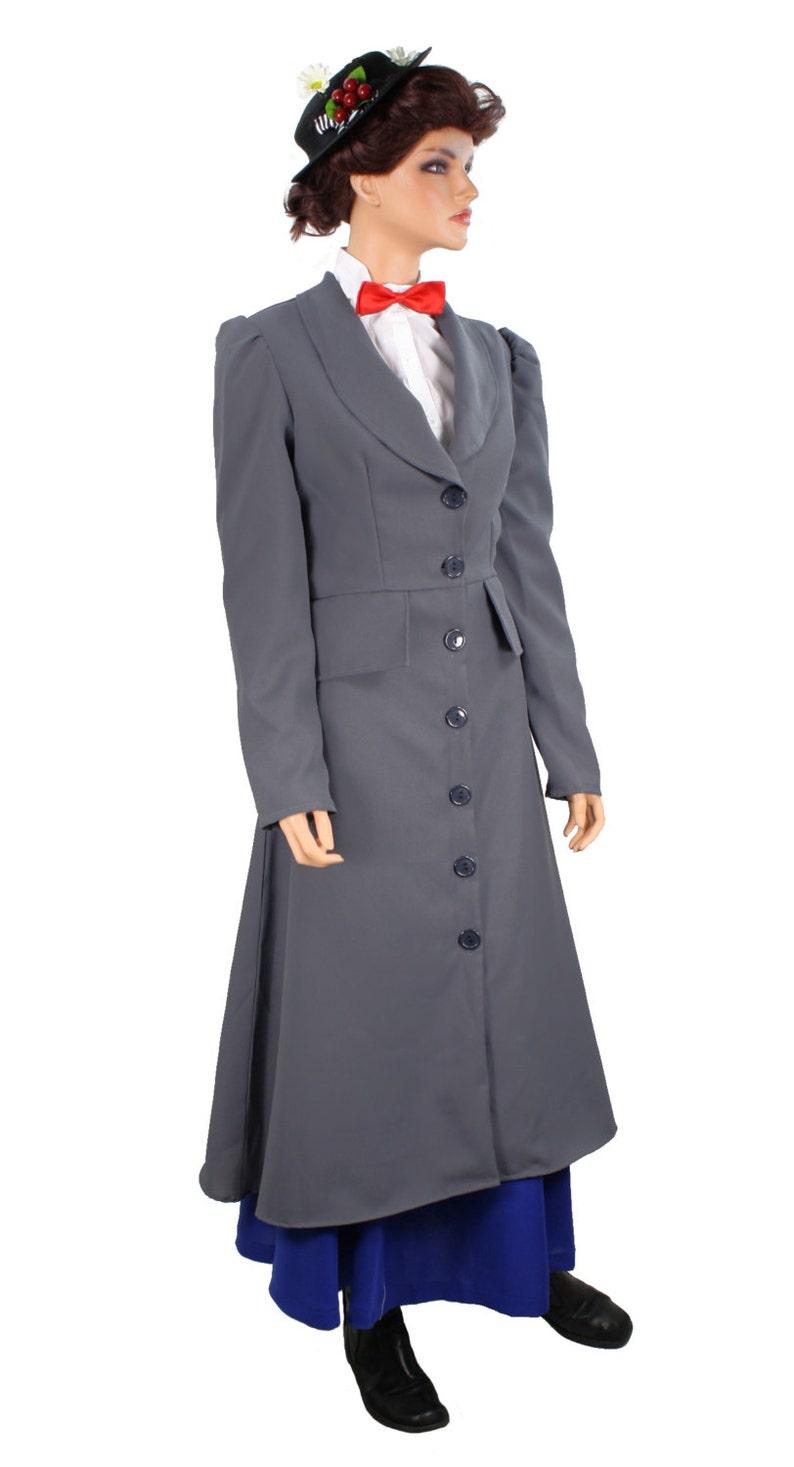 Mary Poppins Grau Zuknöpfen Mantel Kostüm Große Xl Etsy