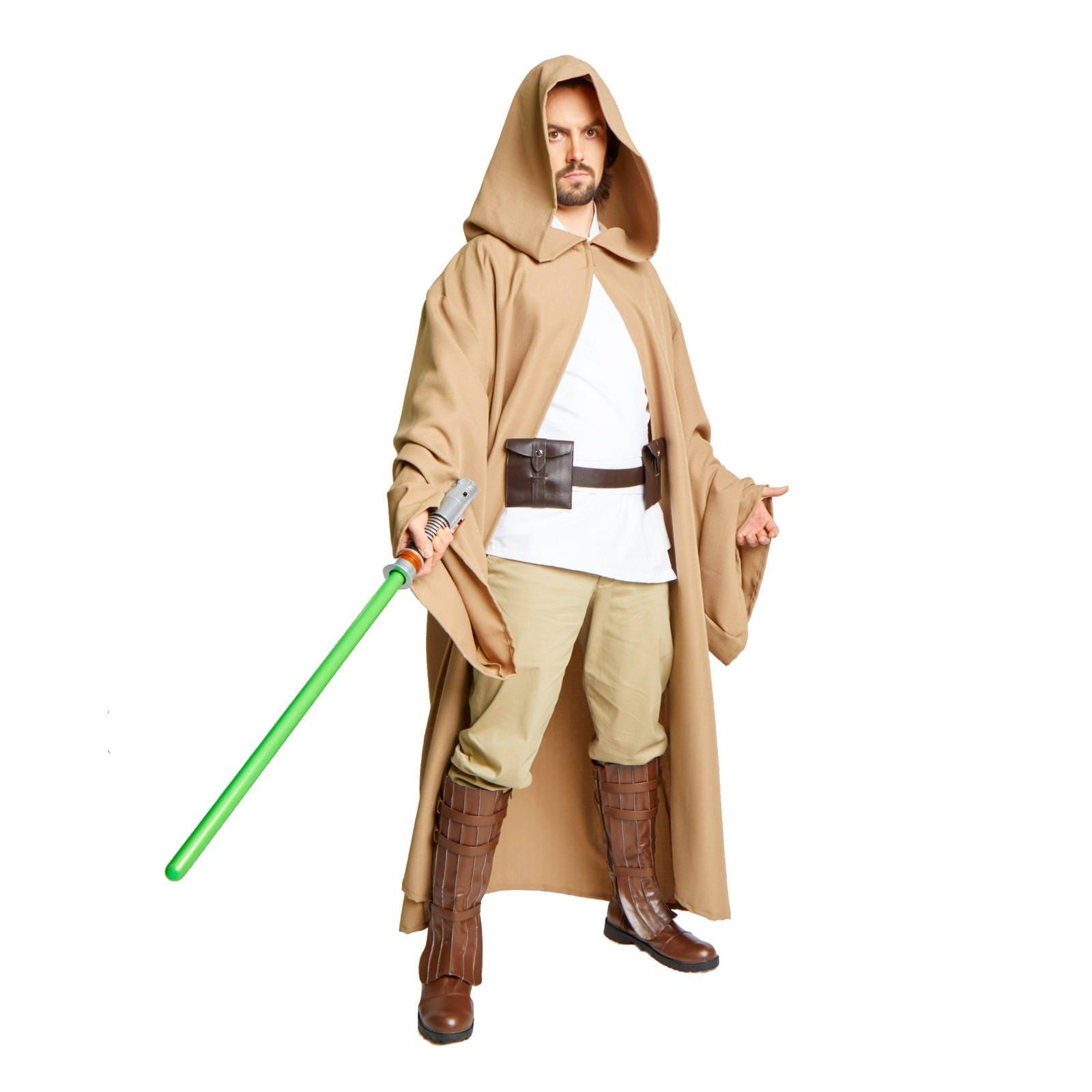 JEDI Obi Wan Wizard Costume CLOAK adult MONK Robe Brown Small Medium Large WU9ZywOp