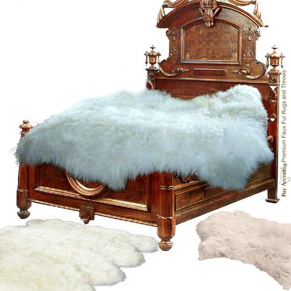 Thick Sheepskin Accent Rug / Faux Fur Flokati Throw