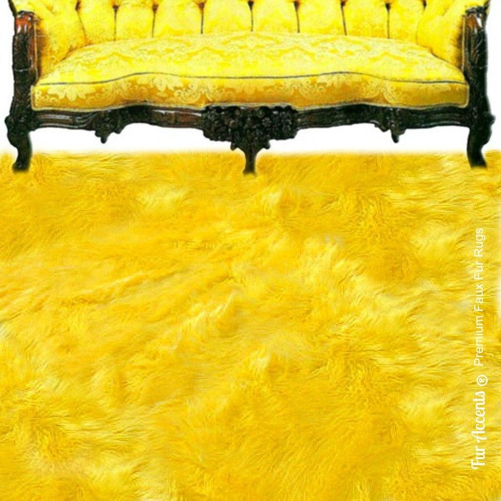 Faux Fur Area Rug Rectangle Shaggy Soft Yellow Shag