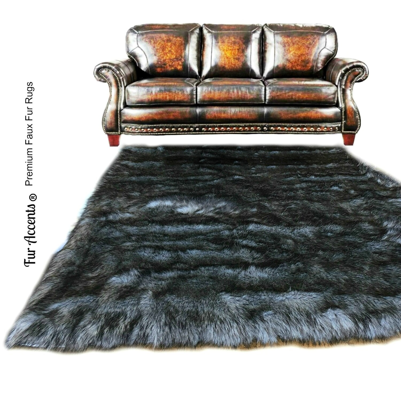 Faux Fur Sheepskin Rug Rectangle Shaggy Soft Thick Gray