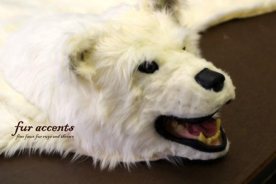 Bear Skin Rug With Head Hand Made Using 100 Animal Friendly Etsy