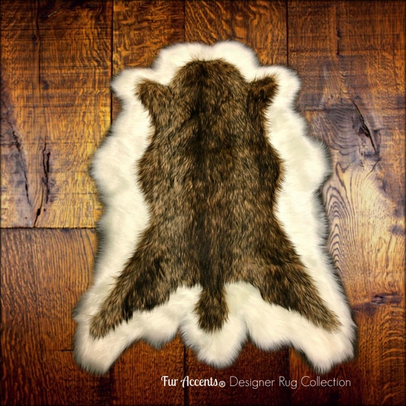Faux Fur Area Rug Brown And Off White Pelt Shape Deer Skin