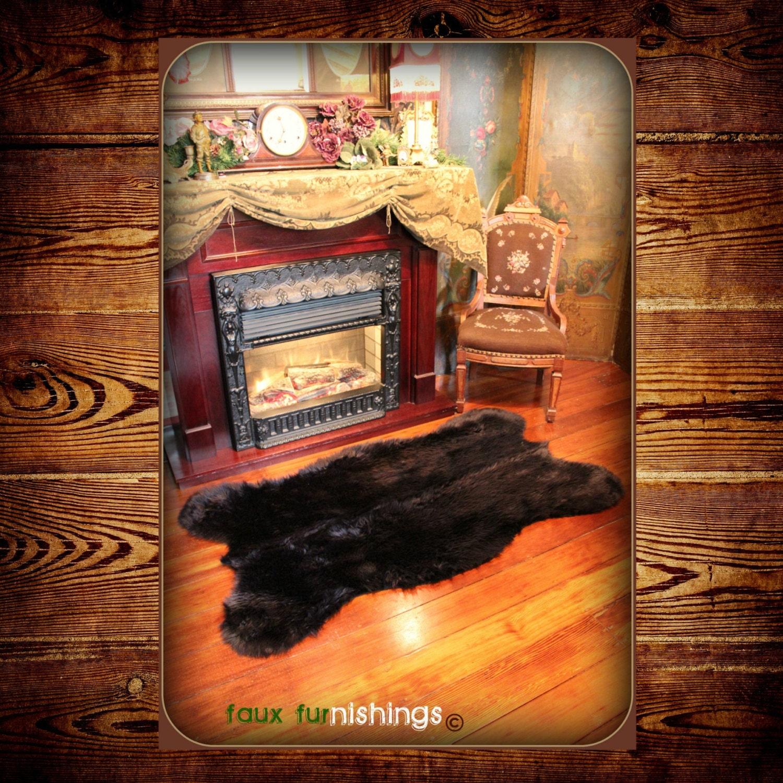 Bear Skin Rug And Fireplace