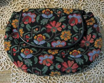 Vintage Mary Ann Rosenfeld Tapestry Clutch Purse