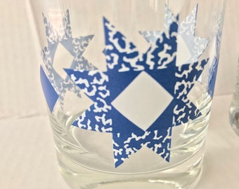 Vintage Blue and White Quilters Star Glasses - SET of Four (4) - Double Old-Fashion Glasses  - Very Rare