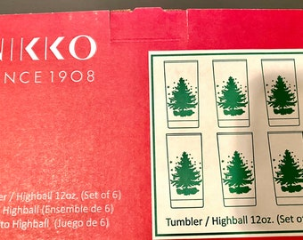 Vintage Nikko Glasses - SET of Six (6) - Highball Glasses  - Tumblers - Very Rare - NEW in Box - NOS