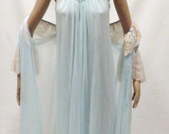 efdefbdf4e Vintage Nightgown Robe Sheer Chiffon Nylon Lace Blue Intime Peignoir Set  Lingerie Size P
