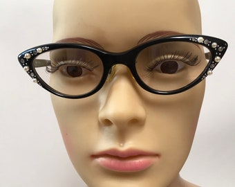 f1ce743c69 Cat Eye Glasses Frame Black Rhinestones Pearls Fay France Eyeglasses Case  Vintage