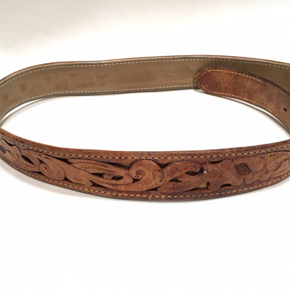 Western Leather Tooled Belt Robert - image 7