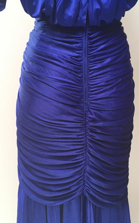 80s Ruched Dress Blue Stretch Rhinestone Evening … - image 5
