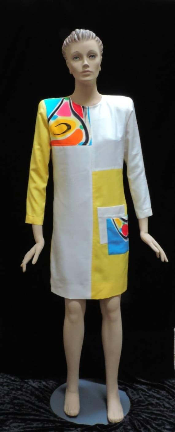 Hand Painted Dress Yellow Silk Yolanda Lorente