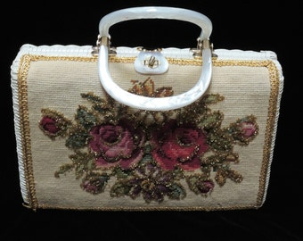Faye Mell Vintage Purse Hand Made Tapestry White Straw Weave Handbag