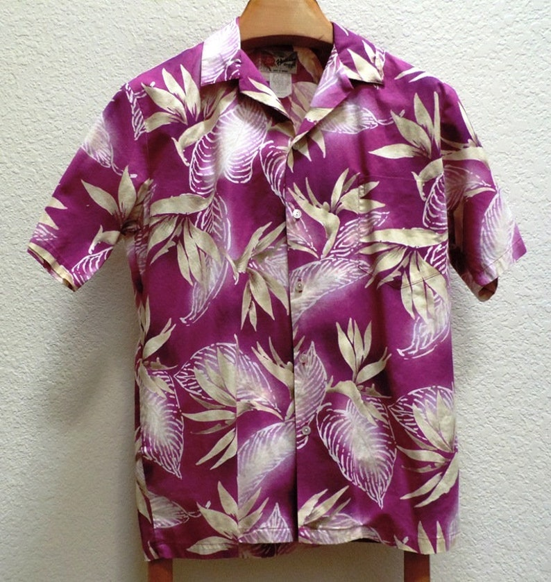 71d1539b Hilo Hattie Hawaiian Shirt Aloha Purple Tropical Flower Print | Etsy