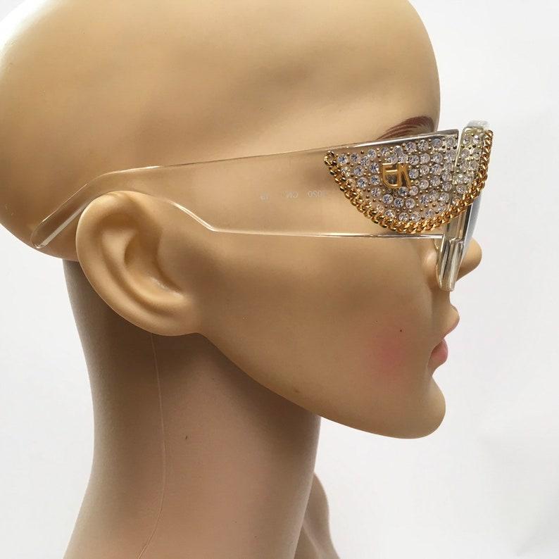 9f6d20615bee Emmanuelle Khanh Sunglasses Crystals Chain Handmade Paris
