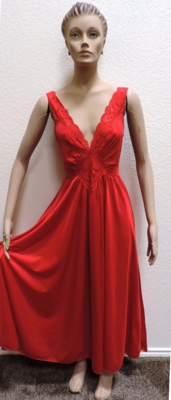 Olga Nightgown Red Size M Nylon Lace Long Gown Dress Classic