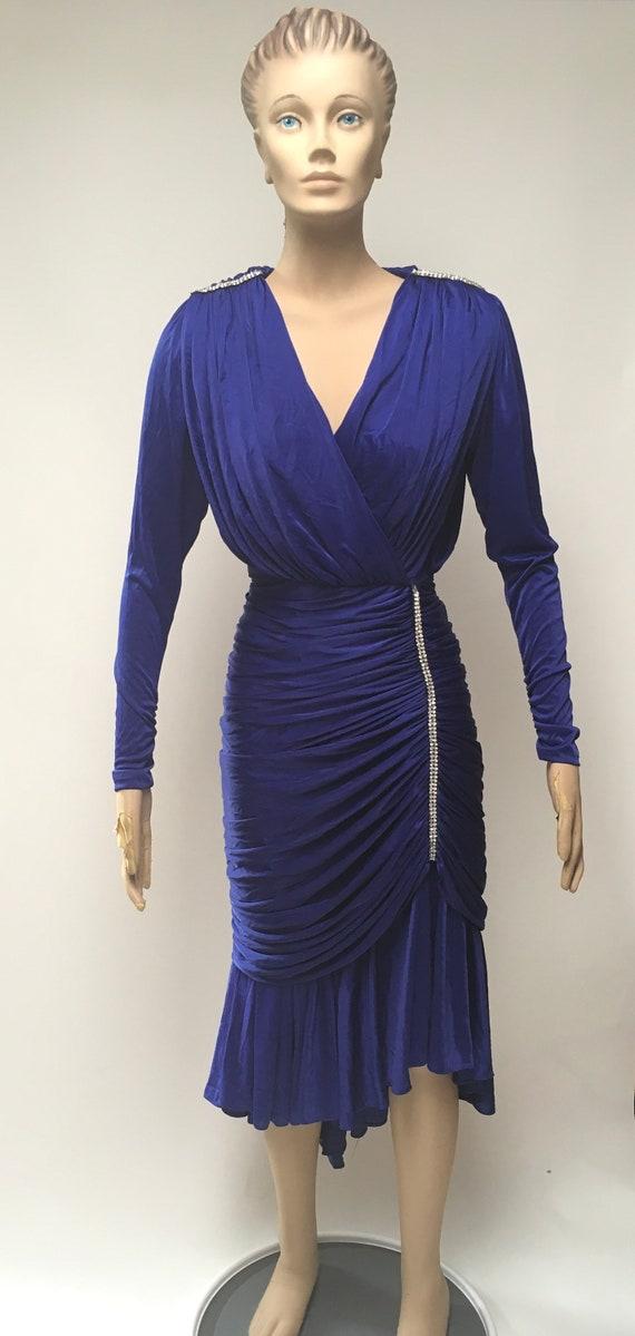 80s Ruched Dress Blue Stretch Rhinestone Evening … - image 4
