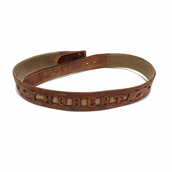 Western Leather Tooled Belt Robert - image 8