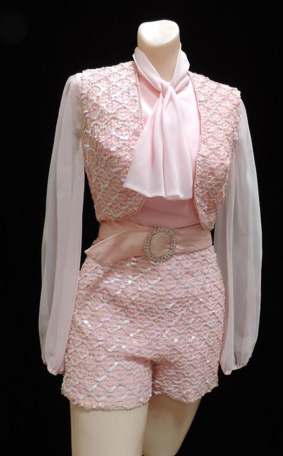 Pink Sequin Hot Pants Maxi Skirt 3 Piece 1960s-70s