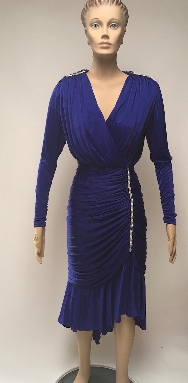 80s Ruched Dress Blue Stretch Rhinestone Evening … - image 1