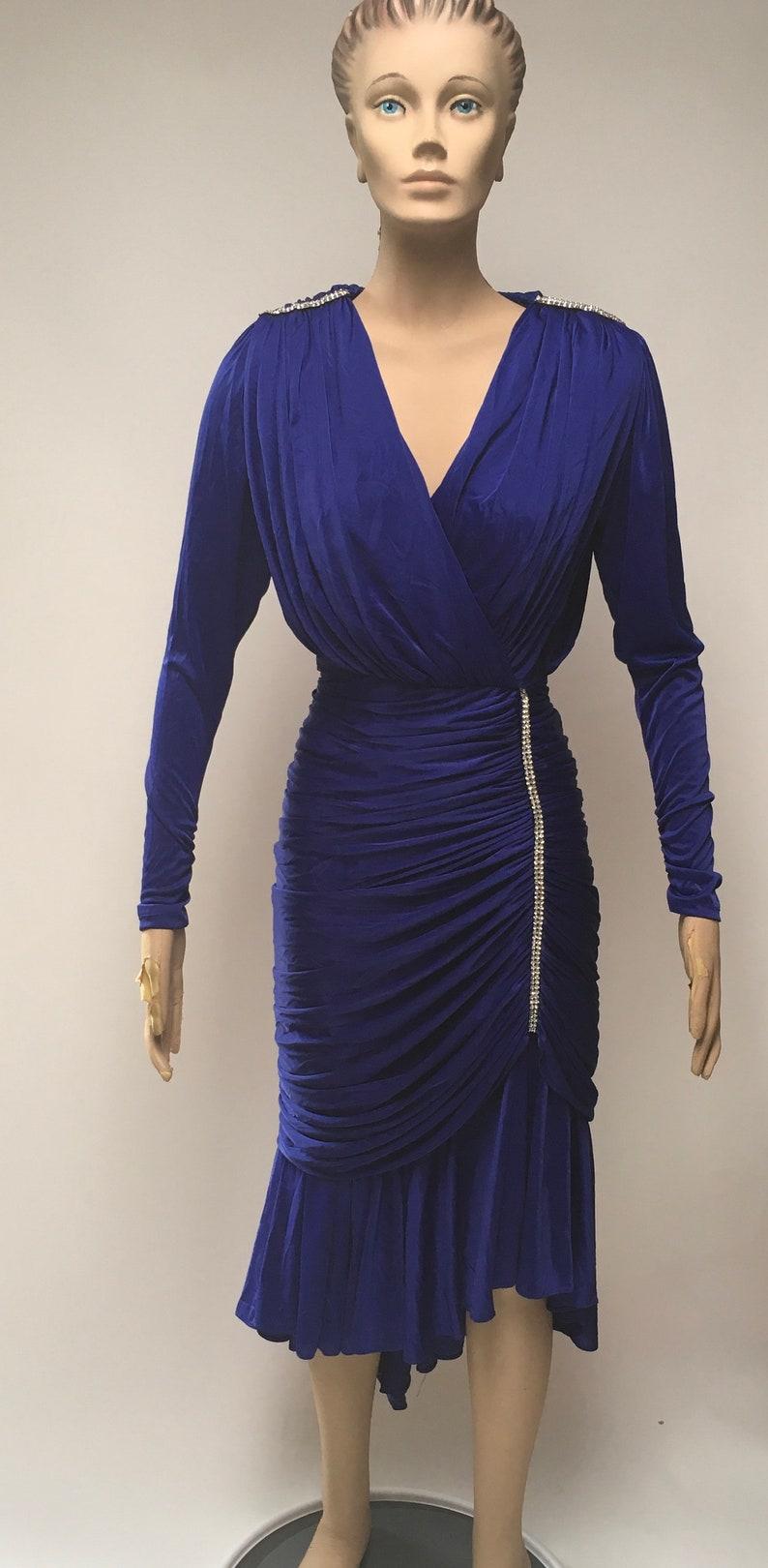 b3f97d988d3 80s Ruched Dress Blue Stretch Rhinestone Evening Frock